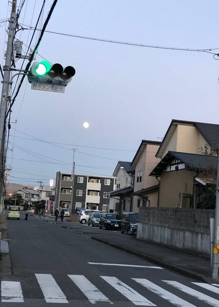 お散歩の途中で月の写真を撮ってみました
