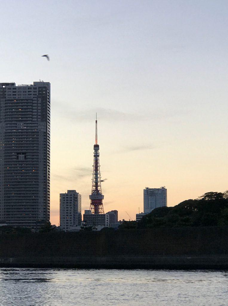 東京タワーです。夕日が綺麗ですね
